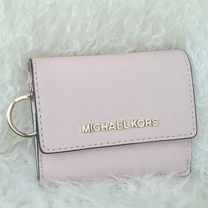 NWT Michael Kors key chain card case blossom pink